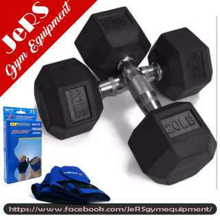 20lbs (pair) Hex Dumbbell with Fitness Glovess