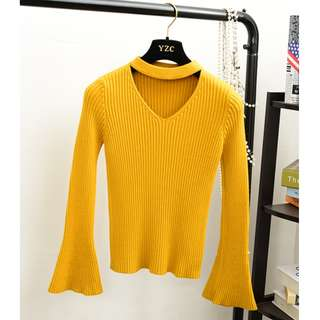 Winter Autumn bell sleeve yellow top