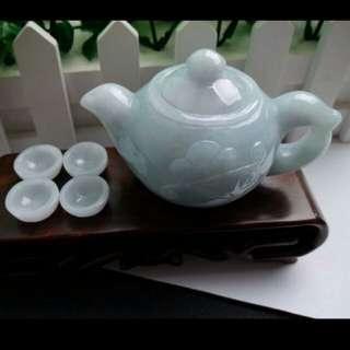 Grade A Teapot and Cups Jadeite Jade Display