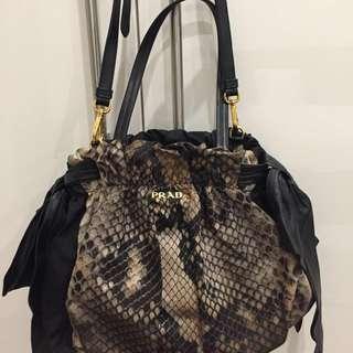 Prada snakeskin bow bag