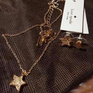 全新 Kate Spade 美國 耳環 頭鍊 套裝 Twinkle Twinkle Star Earrings Necklace