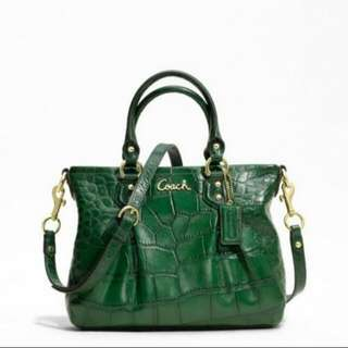 [Open for Swap] Authentic COACH Ashley Forest Green Croc Embossed Leather Carryall Tote