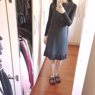 深灰色毛呢保暖洋裝背心裙