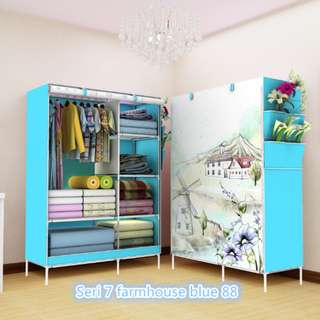 07 Farmhouse Multifunction Wardrobe with cover lemari
