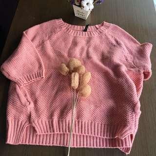 ❤️品牌/粉色短袖毛線衣