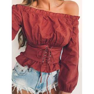 Red Long Sleeve Corset Off Shoulder Top