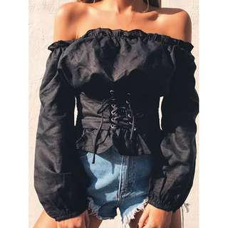 Black Long Sleeve Corset Off Shoulder Top