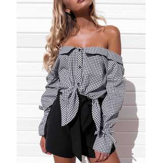 Gingham Off Shoulder Long Sleeve Shirt
