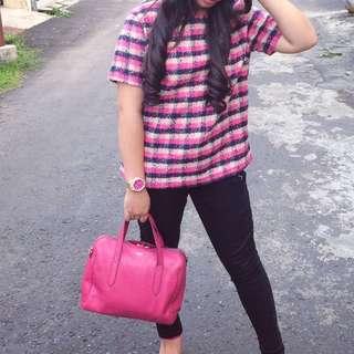 Atasan Fashion Union Pink Import Korea