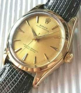 Rolex Oyster Perpetaul 1014古董錶, 全原裝,靚面冇番寫,金字釘金尖針 ,原裝1560蝴蝶陀天文台自動機芯 ,已抹油,行走精神,19mm錶耳 ,金套錶殼,包金帶扣,錶頭34mm不連的 ,淨錶$18500, 上行加$500, 有意pm