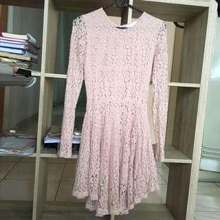 Dress brokat soft pink