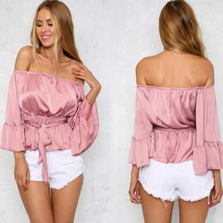 Pink Off Shouder Satin Ruffle Blouse