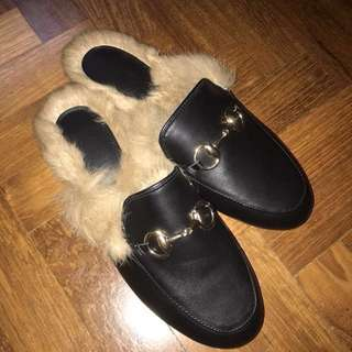 Gucci inspired fur lined leather loafers mules