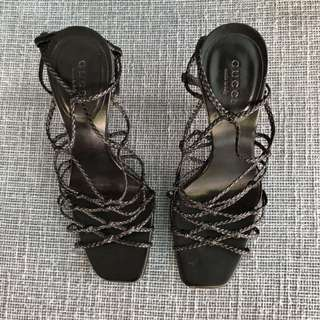 GUCCI Braided Strappy Black Sandals