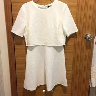 bnwt f21 crop top overlay dress in cream