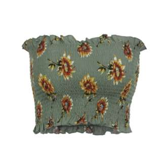 Green Floral Bandeau Shirred Top