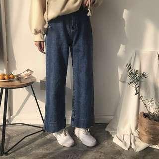 【M現貨免運】高腰闊腿牛仔褲