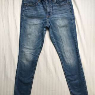 American eagle high rise jean jegginga medium blue wash
