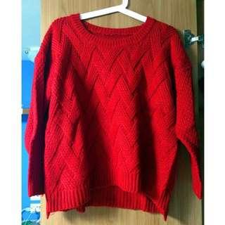 🚚 紅色交叉紋前短後長針織毛衣