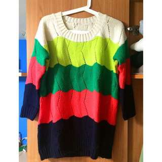 🚚 中長版繽紛色彩漸層毛衣