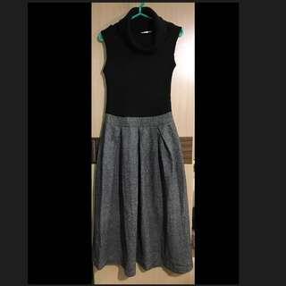 黑色 高領 無袖 長洋裝 長裙 晚宴 禮服 秋冬 尾牙 灰色 拉鍊 立領 毛衣 顯瘦 氣質 針織 蓬裙