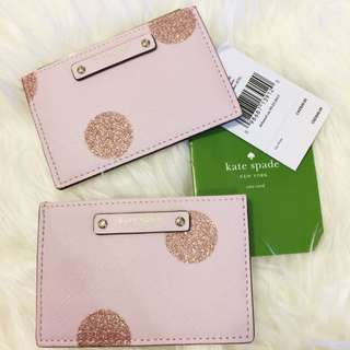 BNWT Authentic Kate Spade Pink Leather Card Wallet Glitter for Christmas