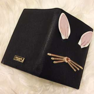 BNWT Authentic Kate Spade Black Rabbit Passport and Card Case Wallet 3D for Christmas
