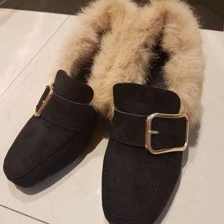 Size 36 fluffy loafer shoes (6cm heel)