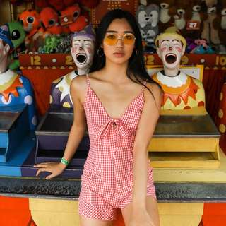 Red gingham jumpsuit playsuit
