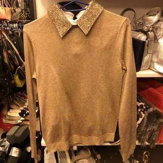 Alice + olivia gold top
