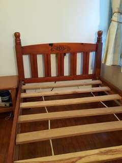 Wooden Bed Frame (& spring mattress)