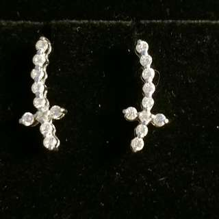 Chic 💎潮款 超閃真鑽石 18K 750 K金 耳環 一對 Super sparkling genuine diamond earring (pair)