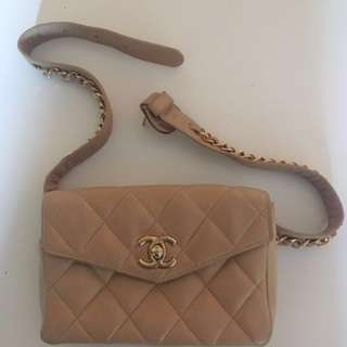 Vintage Chanel Beige Bumbag Waist Purse Fanny Pack Nineties Iconic