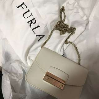 White authentic furla bag