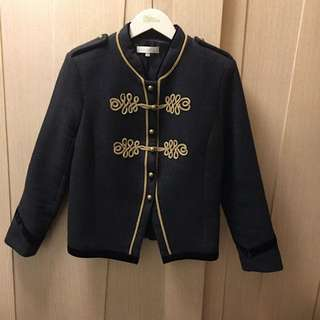 Sandro grey gold trim and button military jacket 💂🏻♀️