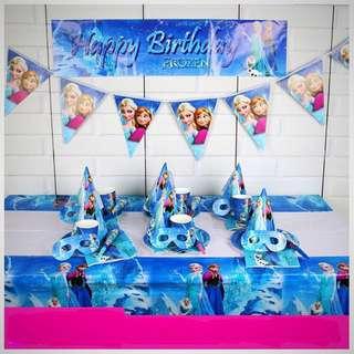 ❄️ Frozen Party Supplies - Frozen Birthday Banner / flag banner / tablecloth