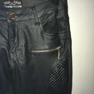 Faux leather biker jeans
