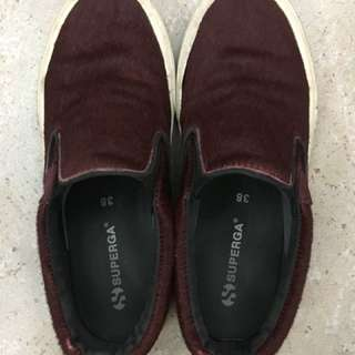 Superga Dark Bordeaux Slip Ons