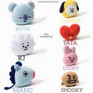 BTS BT21 PLUSHIES/PILLOWS (Tata, Koya, RJ, Cooky, Shooky, Van, Mang, Chimmy)
