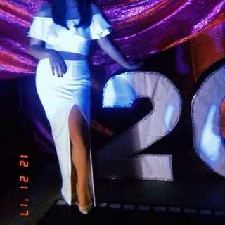 White party long dress