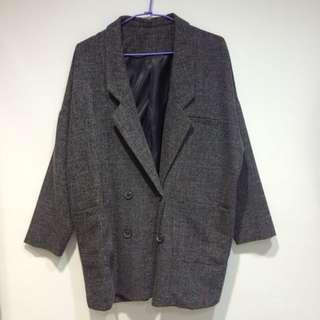 深灰 西裝材質 防風大衣