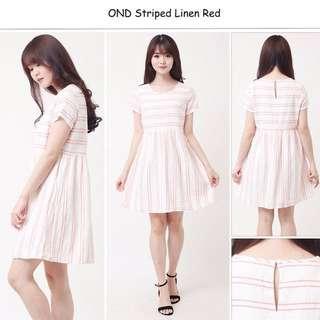 OND STRIPED LINEN RED