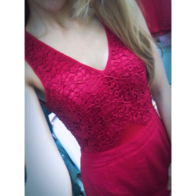全新外貿原單歐美品牌時尚大牌性感氣質特殊造型設計花朵蕾絲正紅色鏤空網紗透視美背長洋裝魚尾禮服