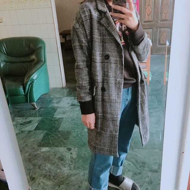 毛呢西裝長版大衣