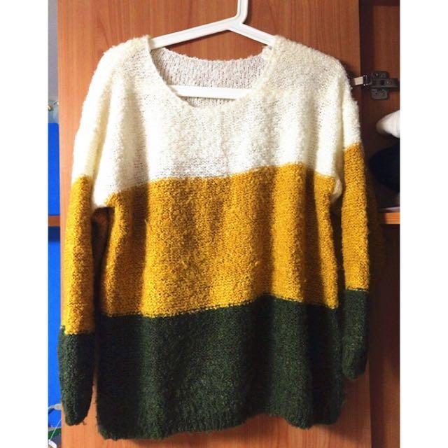 芥黃墨綠漸層毛衣