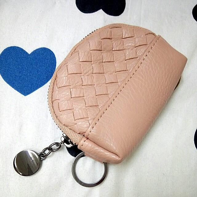 💘九折💘全新粉色編織零錢包小皮包