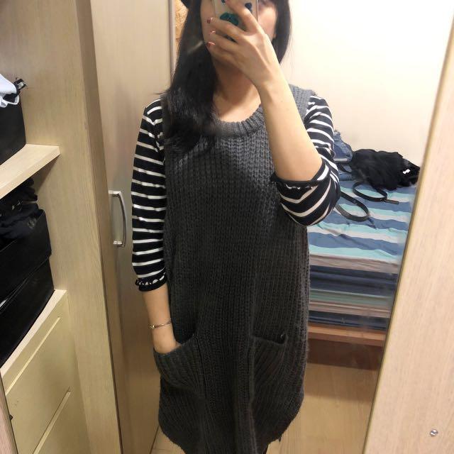 韓版 長版毛衣厚針織背心灰色