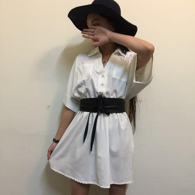純白 縮腰襯衫 洋裝💕