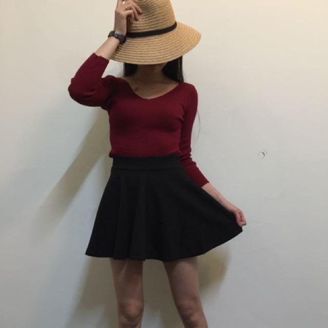 鬆緊 黑色 波浪裙💕