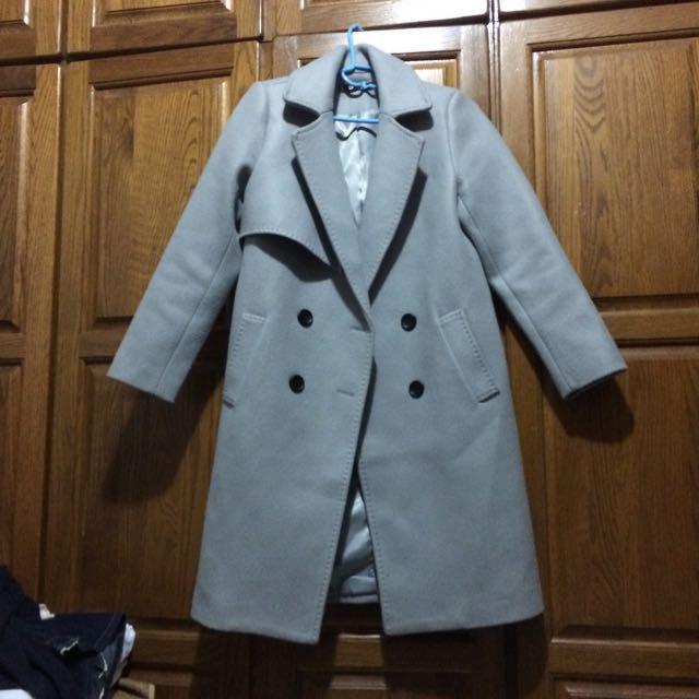 降價求售!大衣 灰色 風衣 不對稱設計 有內裏 保暖 百搭